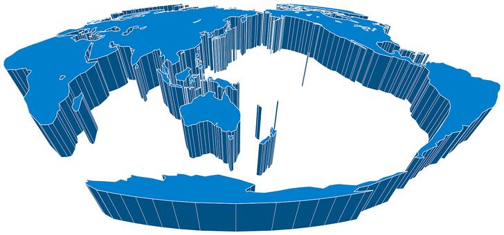 Mollweide projection world map-3D diagonal