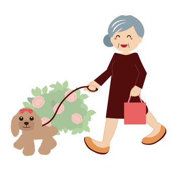 Grandma walking a dog