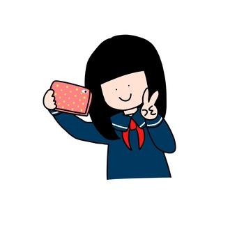 Schoolgirl to take a selfie