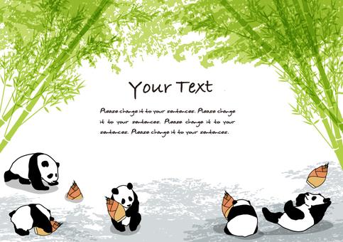 대나무 그늘과 팬더 메시지 카드 C