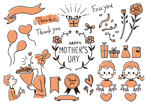 Mother's Day handwritten illustration 2 colors