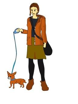 妇女和小狗