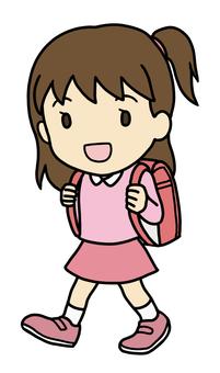 School bag and girl