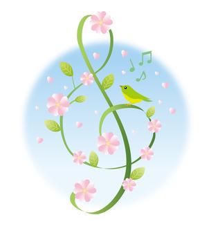 푸른 하늘과 봄을 노래하는 작은 새