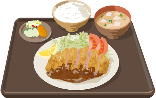 Tonkatsu set meal no tray tray