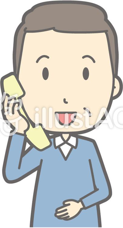中年男私服-電話-バストのイラスト