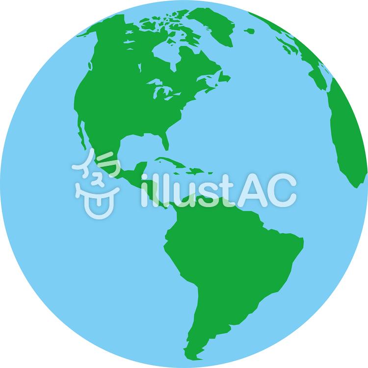 正射図法世界地図-アメリカ中心のイラスト