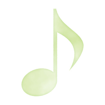 Watercolor hand drawn style musical note green / yellowish green