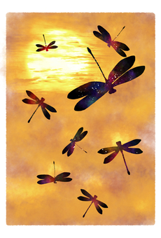 Autumn sky and Tonbo's post card Kokane