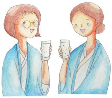 A toast with a yukata (female)