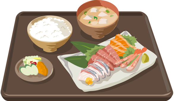 Sashimi set with meal tray