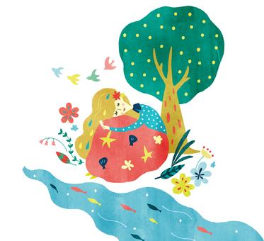 Dreaming woman watercolor