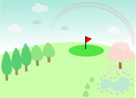 Spring Golf Illustration