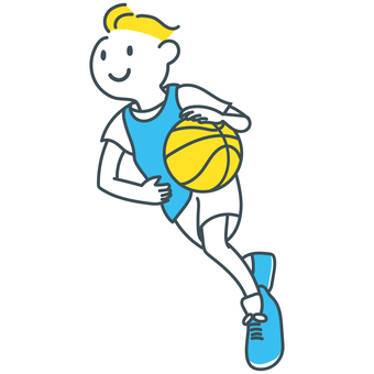Blue-white-white dribbling boy playing basketball