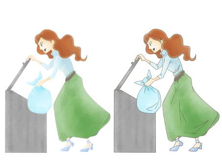 ゴミ捨て女性イラスト