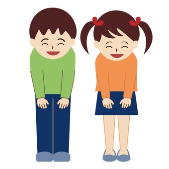A girl with her head lowered with a smile and a boy