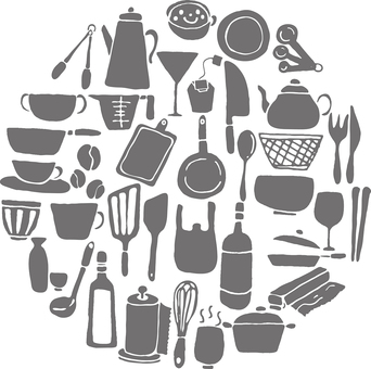 Kitchen equipment Silhouette Gray set circular
