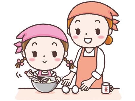 과자 만들기를하는 부모와 자식