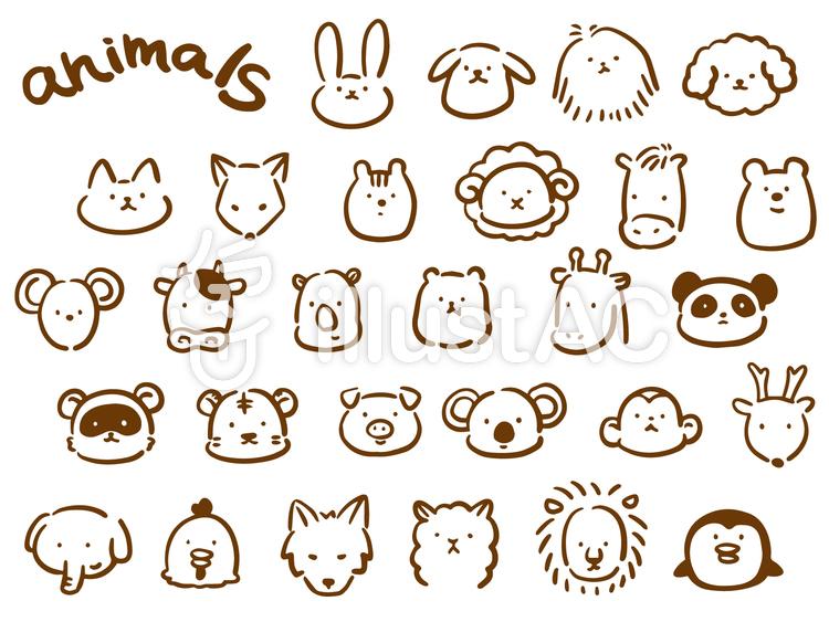 動物 ゆるい手描き セットイラスト , No 1350364/無料イラスト