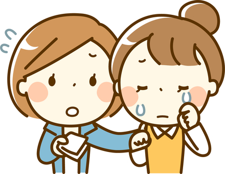 Women crying and encouraging women
