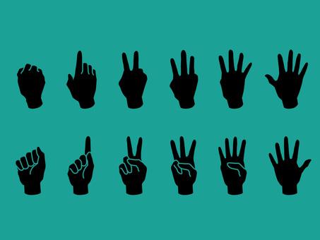 손과 손가락 · 1-5 · 검은 실루엣