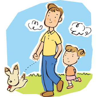 Walk with dad and child