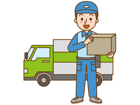 Delivery truck and men