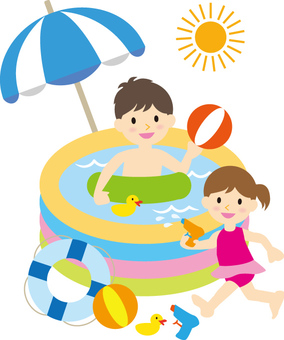 Children playing in the pool