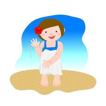 Women · sand beach