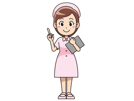 Female nurse who stands holding medical record