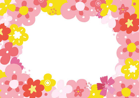 Happy flower frame pink