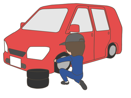 Worker woman changing tires