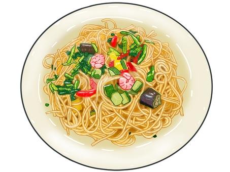 蔬菜意大利面(蝦)