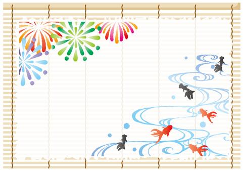 夏の和紙フレーム(金魚と花火)