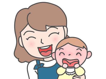 父母和孩子的微笑