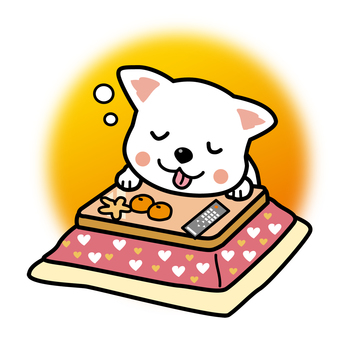 A dog that sleeps with a kotatsu