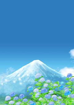 Mount Fuji and hydrangea