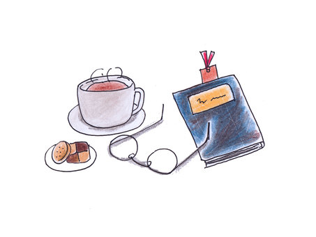 Glasses, books and cocoa