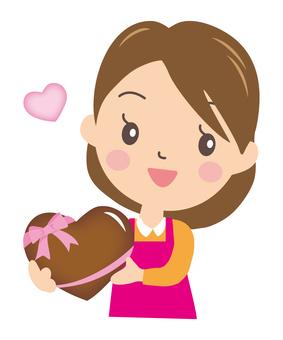 Mom and heart chocolate