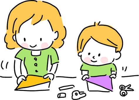 부모와 자식으로 종이 접기