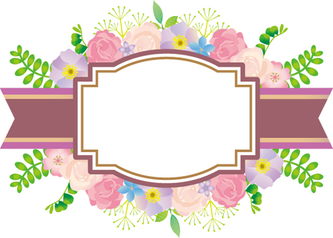 Flower and ribbon decorative label