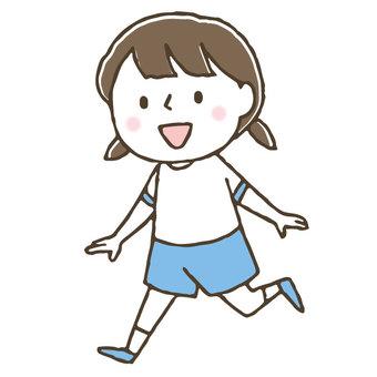 Running cute children / athletic meet / girl / fine