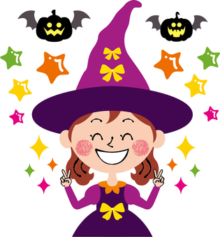 Smile Halloween Peace witch with both hands