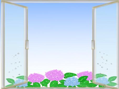 Window side frame of the rainy season Shizuku and hydrangea