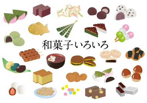 Various Japanese confectionery set
