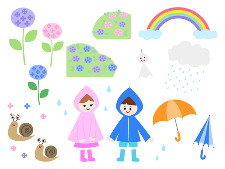 Rainy season illustration set