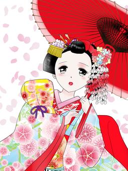 舞妓さんと桜吹雪訂正