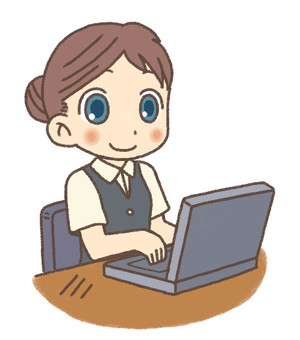 Business scene (woman using a personal computer)