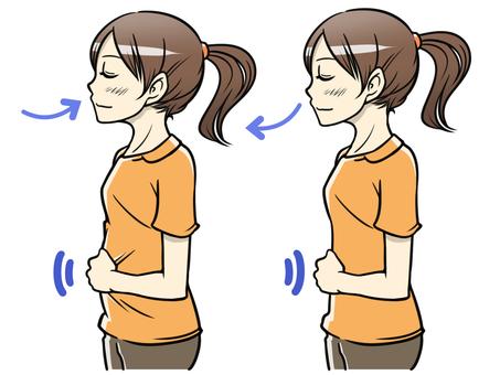 Female, abdominal, breathing