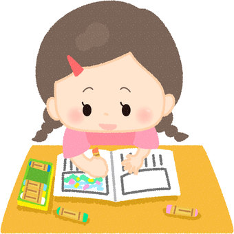 A girl drawing a picture diary